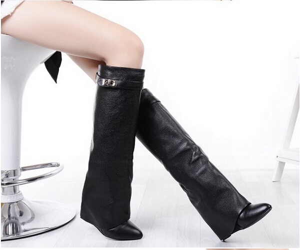 Фотография winter knee high boots wedges shoes women motorcycle boots high heels pumps women shoes