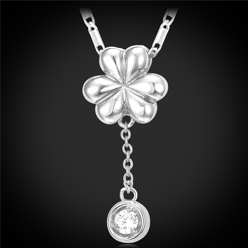 Romantic Six Petals Flower Drop Pendant Necklace 18K Gold Plated/Platinum Plated With Crystal Zirconia For Women Jewelry I-P1932(China (Mainland))