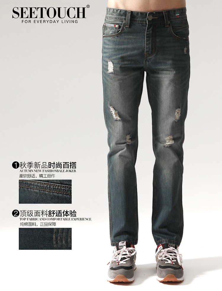 High Quality Character Ripped Holes Casual Men's Jeans Pants,Cotton, Large Size28-38 Leisure Straight Cylinder Distressed Pants