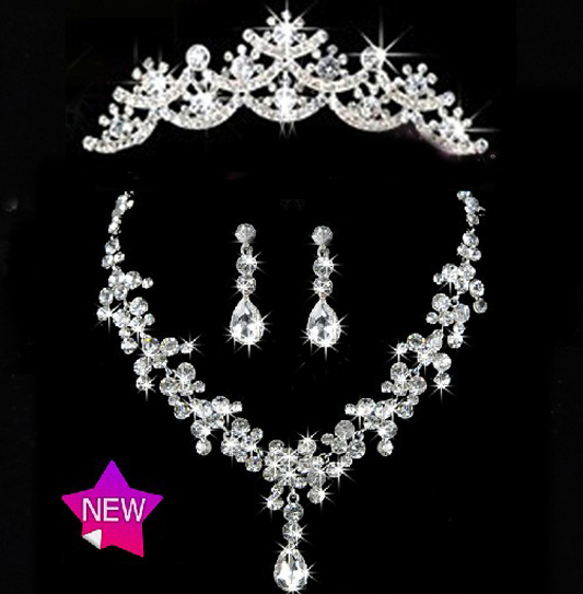 2016 New Arrival Water drop Crystal Bridal Jewelry Setss Fashion Rhinestone Necklace sets for Bride Wedding Hair accessories
