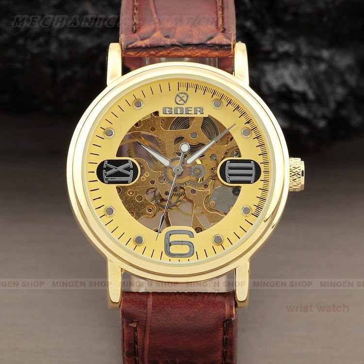 Men Casual Arabic Roman Numbers Dial Skeleton Business Leather Band Hand Wind Mechanical Watch - Joyce's Time House store