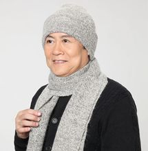 Winter hat scarf twinset quinquagenarian male hat winter rabbit fur male wool knitted hat(China (Mainland))