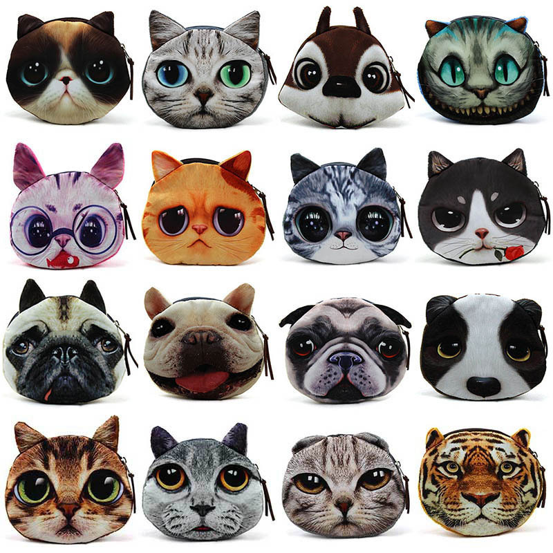 1pc Coin Bolsas 3D Dogs Cats Tiger Animal Face Change Storage Bag Cute Cats Face zipper Bag for women Childs Gift(China (Mainland))