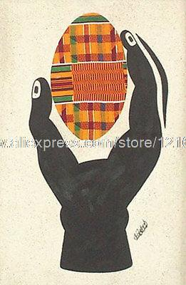 Kente Egg African Mixed Media Paintng Art Nr Oil Paintings Cheap Small Picture The Poster Office Background Abstract On Canv(China (Mainland))