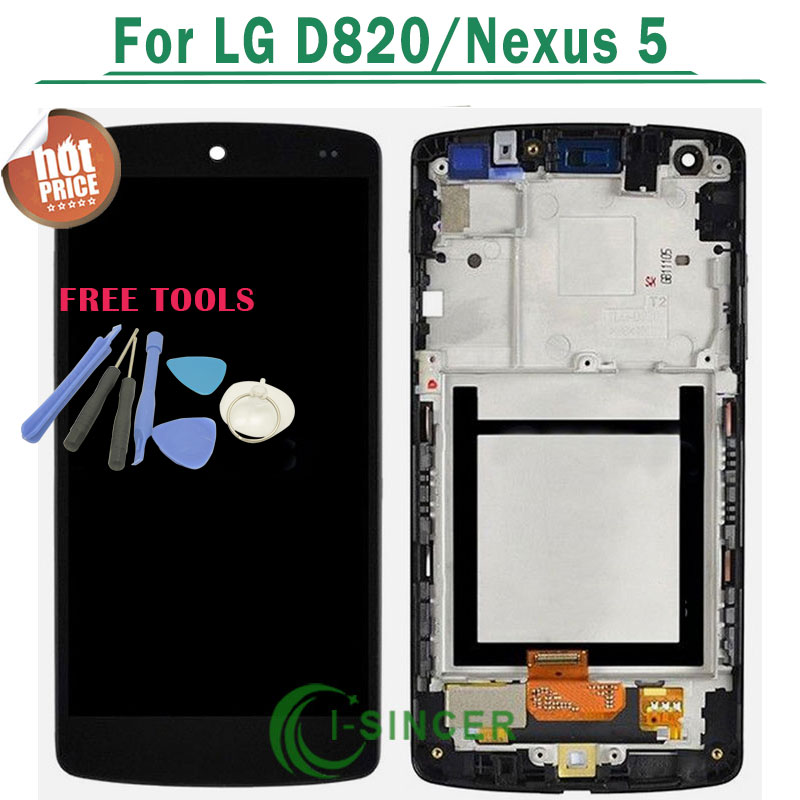 100% Original +Tools LCD Display With Touch Digitizer Screen complete Assembly with frame For LG Nexus 5 D820 D821 Free shipping