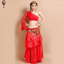 bellydance set 3pcs (top+dress+Waist chain) bollywood dance costumes 5colors free shipping