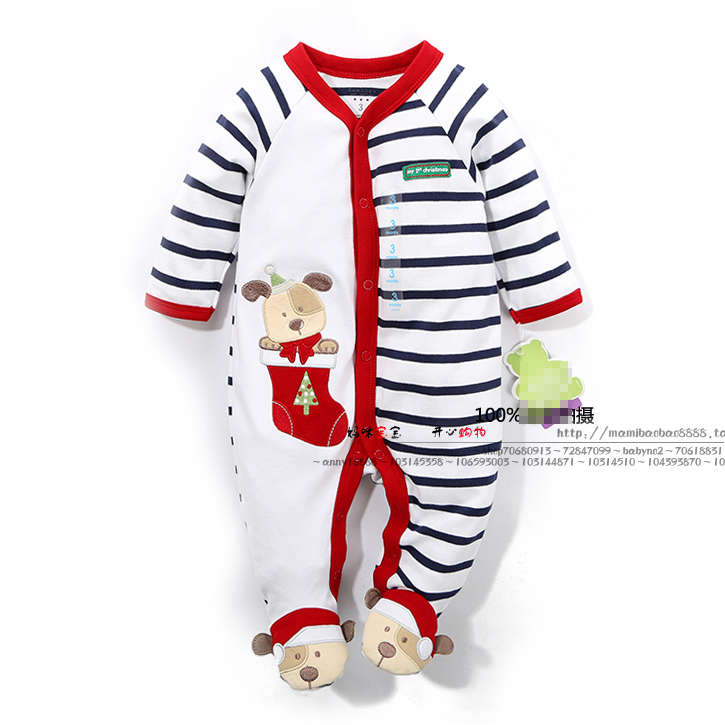New 2014 spring autumn baby clothing newborn Long-sleeve rompers boys striped cotton Christmas bear jumpsuits baby wear costume(China (Mainland))