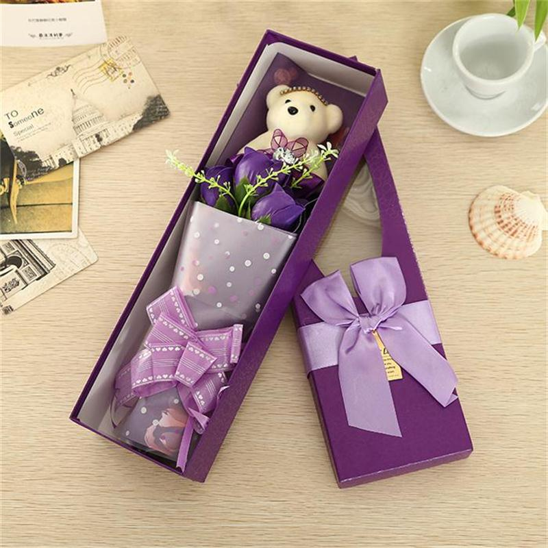 High quality hot sale teddy bear and soap flowers bouquet exquisite gift box creative Valentine/Graduation Gift free shipping(China (Mainland))