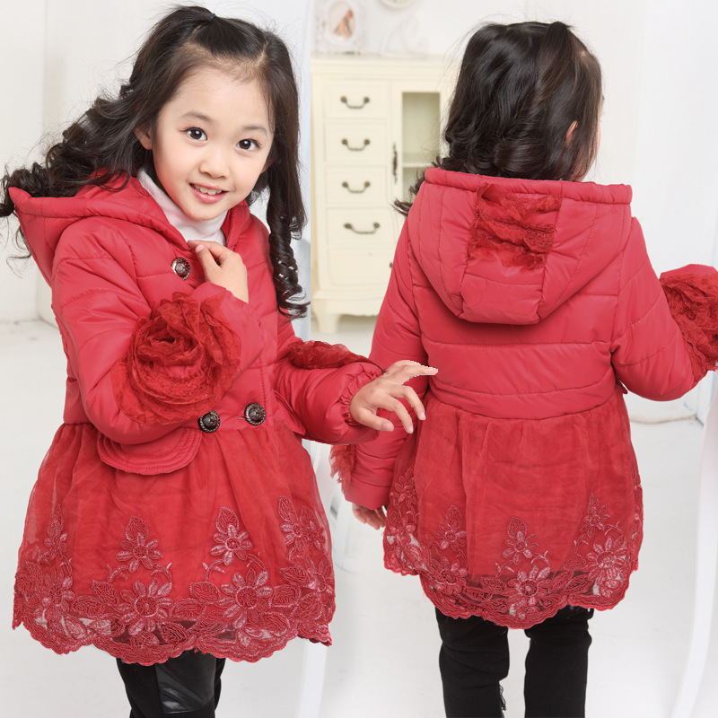 Free shipping winner girl flower net yarn splicing lace hem double-breasted cotton-padded outerwear girl coat children clothing<br><br>Aliexpress