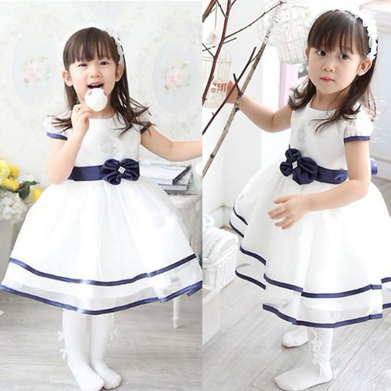 new short sleeve  Waist Chiffon Dress Girls Toddler 3D Flower Tutu Layered Princess Party Bow Kids Formal Dress<br><br>Aliexpress