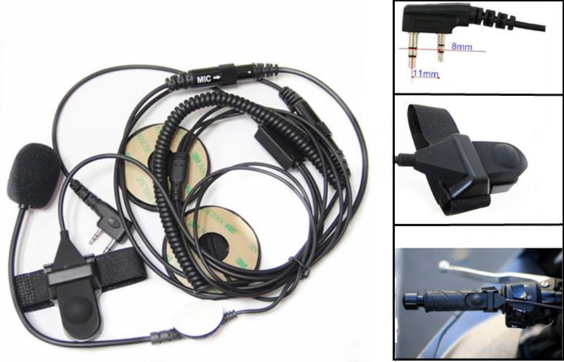 Open Motorcycle Helmet Headset Earpiece for Kenwood & Baofeng UV-5R Two Way Radio(China (Mainland))