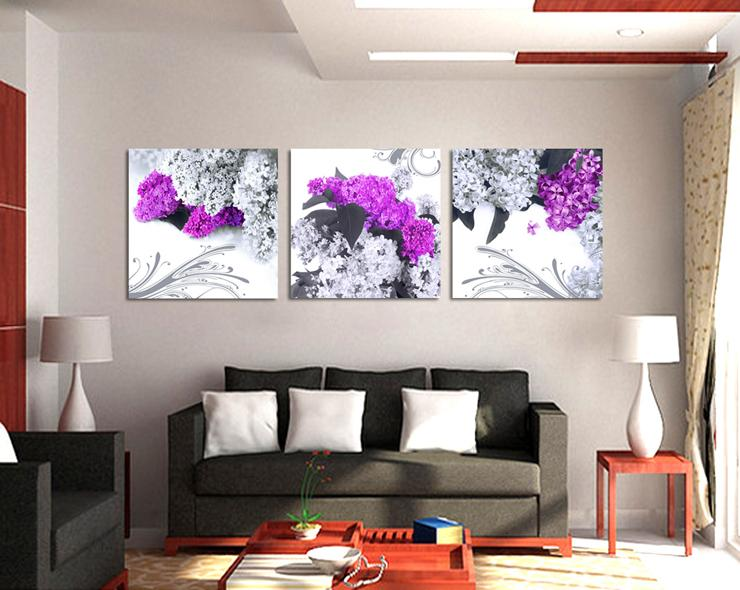 3 Panel Free Shipping  Modern Wall Painting Home Wall Art Paint on Canvas Prints flower wall pictures for living room(China (Mainland))