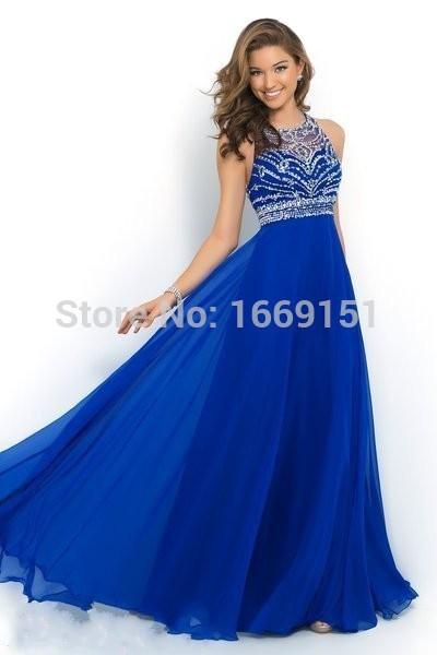 In Stock Elegant Royal Blue Chiffon A-Line Prom Dress 2015 Halter Sparkly Beading Long formal Evening Dresses Vestido De Festa(China (Mainland))