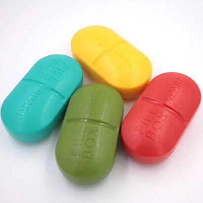 6 Slot Pill Splitters Cases Portable Cute Mini Pill Shaped Medicine Case Medical Pill Box Drug Pill Case(China (Mainland))