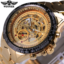2016 WINNER Luxury Brand Watches Men Automatic self-wind Fashion Casual Male Sports Watch Full Steel Gold Skeleton Wristwatches(China (Mainland))
