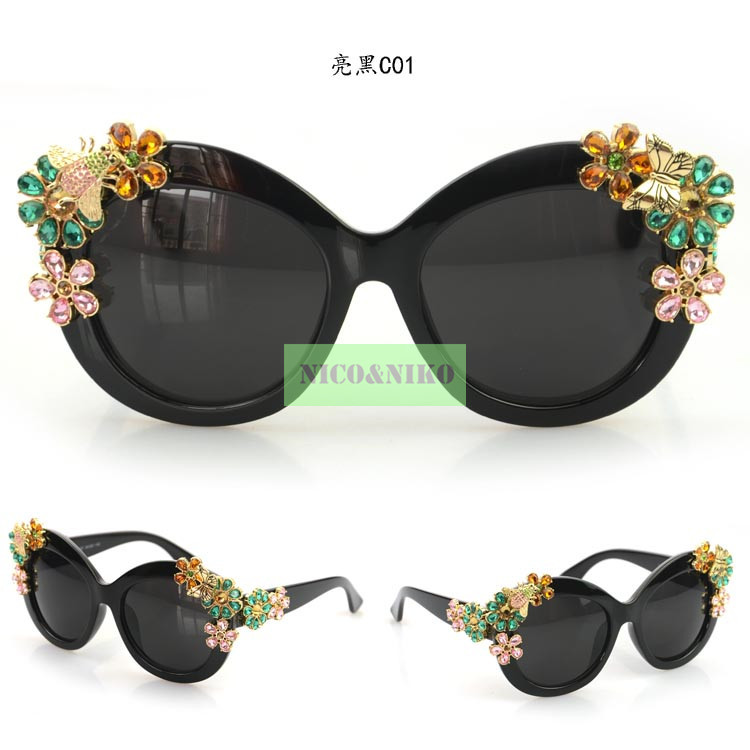 5 Colors Flower Colorful Diamond Eyewear Glasses 2015 New