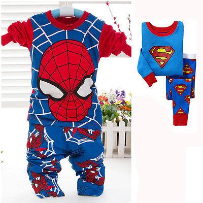 2016 Fashion Spider Kids Set Children Sets Boys Child Cartoon Nightwear Pj's Sleepwear Cotton Nightwear Pajamas 2-8 Clothing Set(China (Mainland))