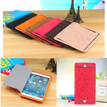 Glossy Leather Case for mini Ultrathin Business Real Leather Smart Cover for Apple Tablet PC Case 50pcs/lot(China (Mainland))