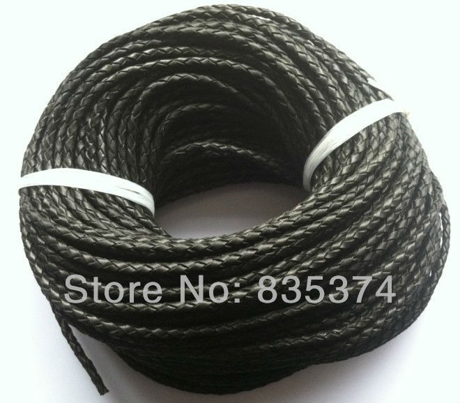 High quality 4 strands black 4mm braided  leather cord round 50meters/lot