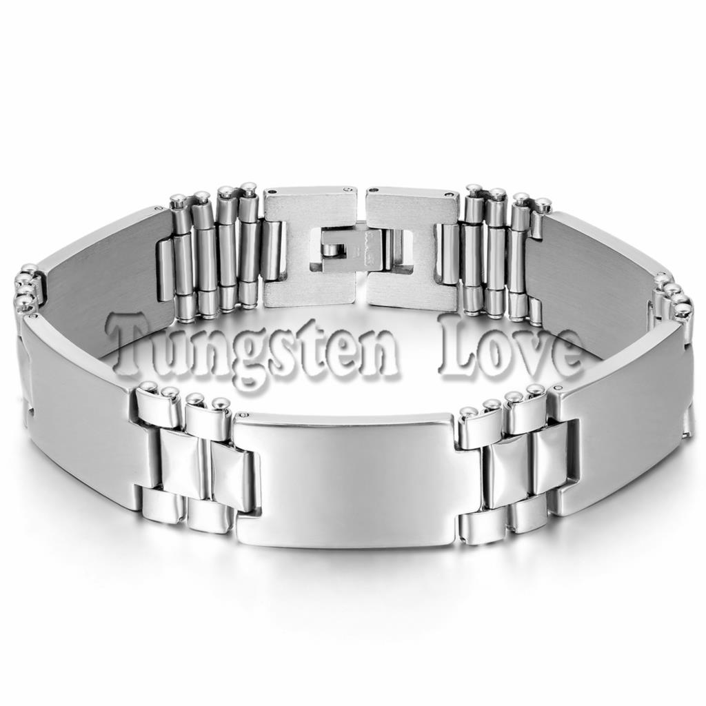 New Style Smooth 316L Stainless Steel Mens Bracelet Punk Metal Chain Men Jewelry 15 mm Width 23cm accessoires homme(China (Mainland))