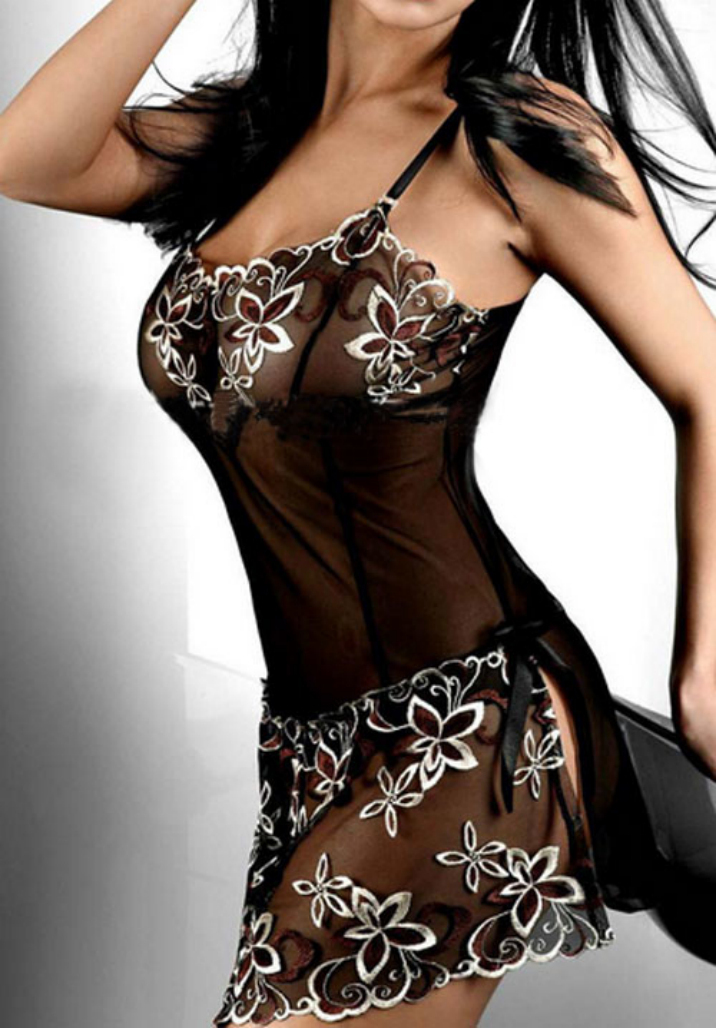 Best Deal Women Black Vintage Lace Printed Sexy Cute Lingerie Corset Pajamas Underwear nightgown Plus Size M-4XL 1PC(China (Mainland))