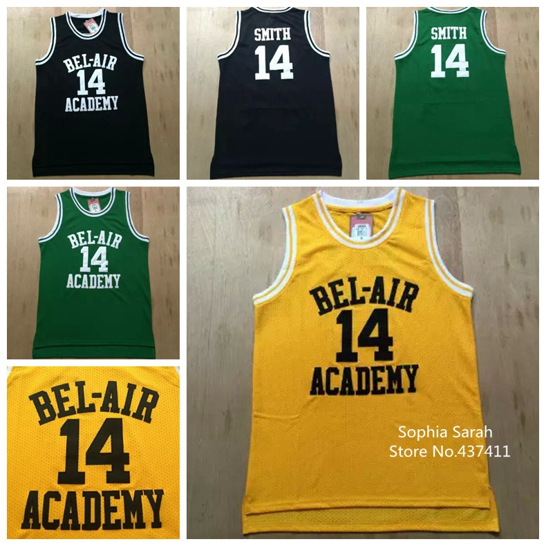 BEL-AIR Academy #14 Will Smith Basketball Jersey,  The Fresh Prince of  BEL-AIR Basketball Jersey, Yellow Color ,New Arrival !!!(China (Mainland))
