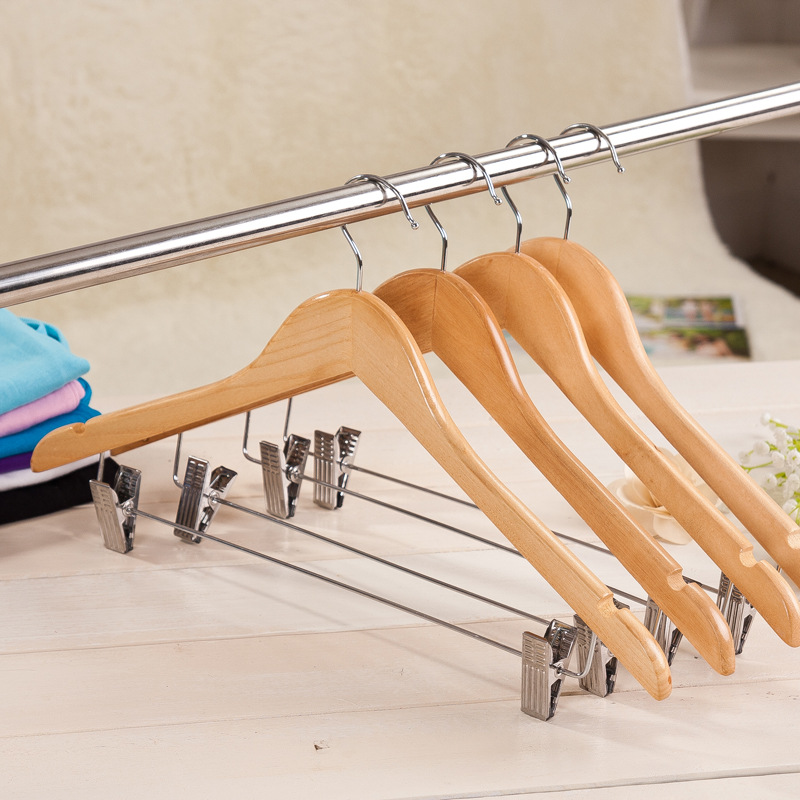 10 pcs natrual color anti slip wooden hanger flat style clips clothes hangers best closet organizers to save much space(China (Mainland))