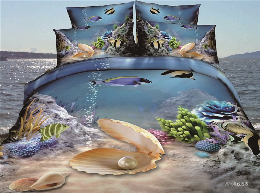 Summer beach 3d bedding set sea snail bed set conch beding set bed clothes blue ocean palm island Hawaii boats Starfish B2762(China (Mainland))