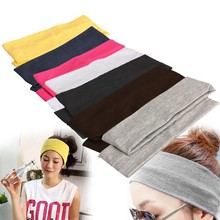 Elastic Headband 2PCS Sports Yoga Accessory Dance Biker Wide Headband Stretch Ribbon Cotton Hairband H1E1