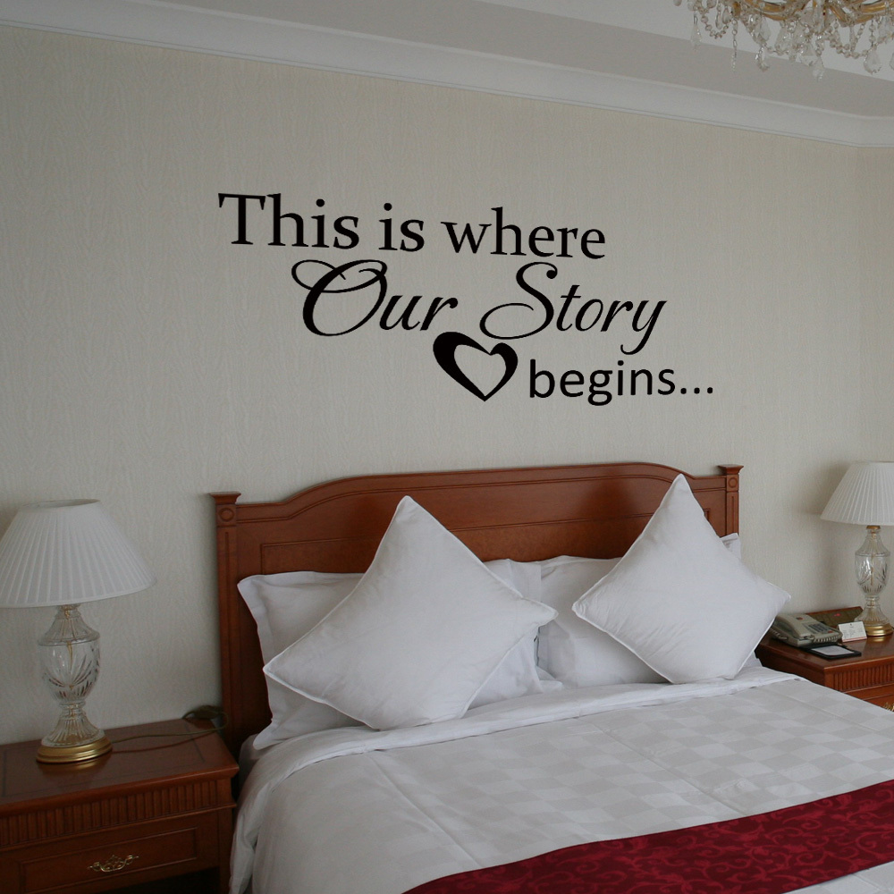 Wall Decor For Couples Bedroom : Vinyl wall decal this is where our story begins heart