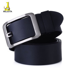 MILUOTA 2015 100 Genuine Leather belts for men High quality metal pin buckle jeans belt