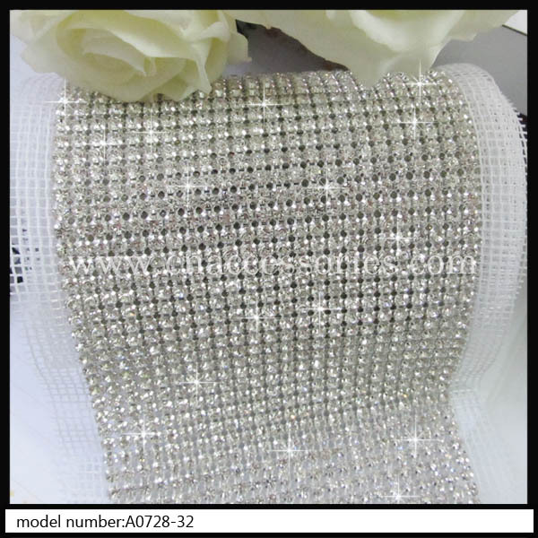 free shipment,ss19 24 rows rhinestone mesh trimming,24rows banding,crystal trimming wedding cake,candle - QingMei China accessories company store