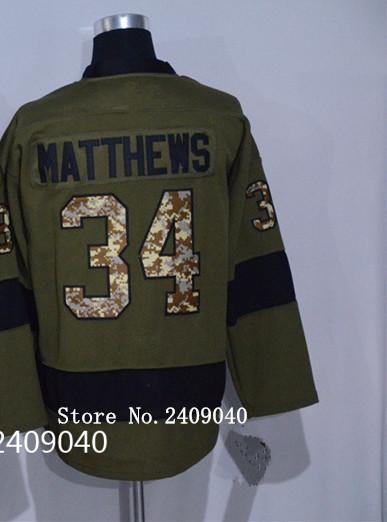 2016 Mens 34 Auston Matthews Green Salute to Service Hocky Jersey Size M,L,XL,XXL,XXXL(China (Mainland))