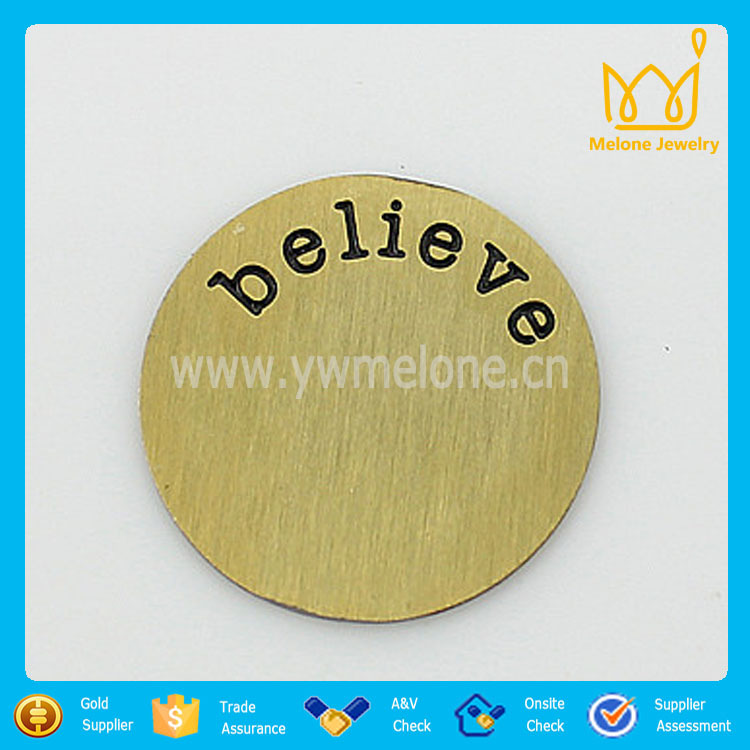 Free shipping 20pcs/lot gold believe 22mm 316L Stainless Steel plates for 30mm Floating glass Lockets(China (Mainland))