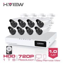 H.View 8CH CCTV System 8CH AHD CCTV DVR 1TB HDD 8 1.0 MP IR Security Camera 2 Array LED CCTV Camera Surveillance System