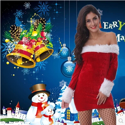 Cheap Christmas Santa Claus Costumes Red Sexy Mini Christmas Dress for Adults(China (Mainland))