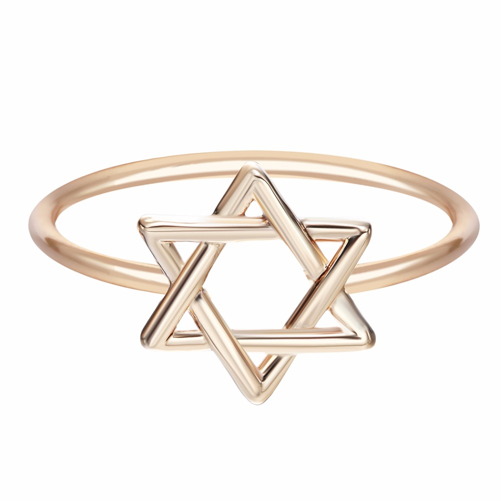 New david star silver gold plated protection rings for Star of david jewelry wholesale