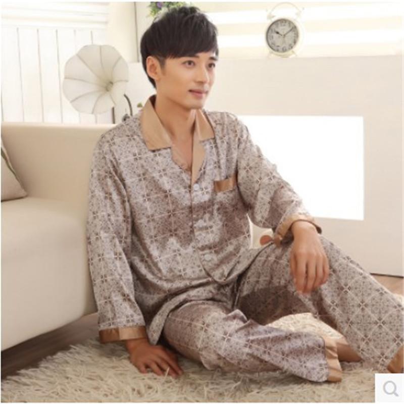 Men's Satin Pajamas Spring And Autumn Pijama Men Full  Men's lounge pajamas Sets Plus Size XXXL