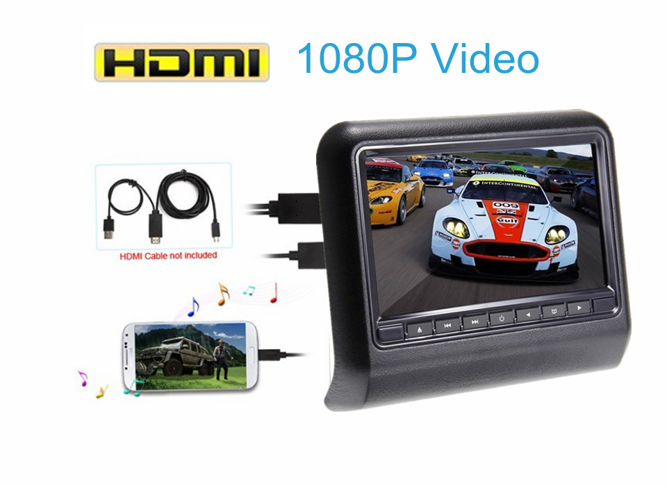 "10.6"" HD Digital LCD Screen Car Headrest pillow Monitor DVD/USB/SD video Player HDMI 1080p sony lens IR/FM Game auto monitor"