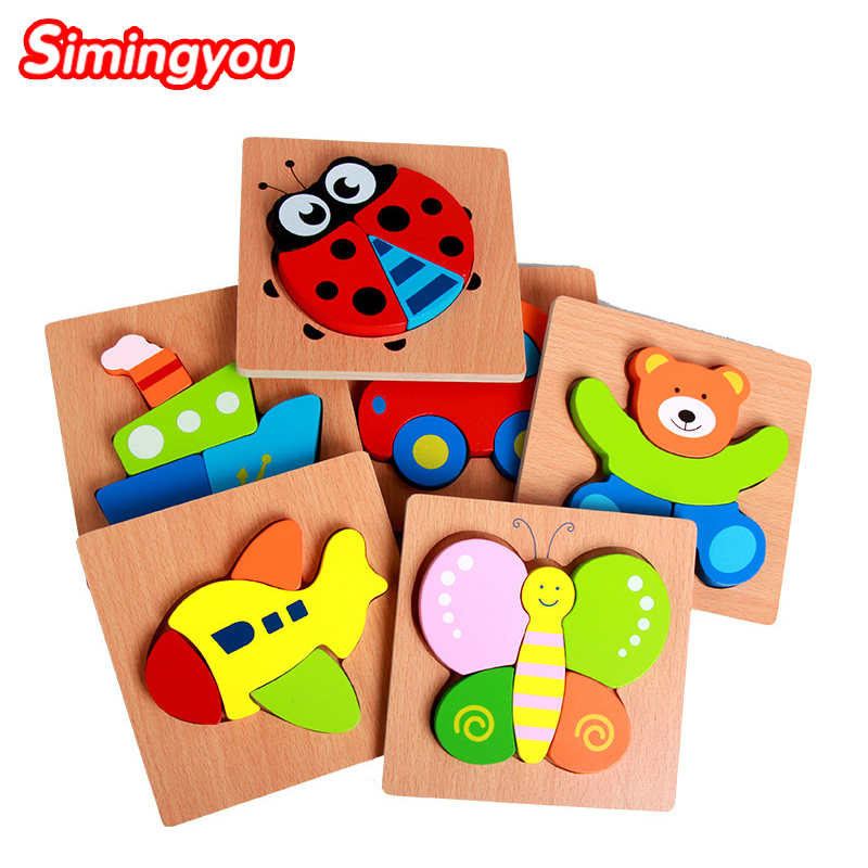 Simingyou 1pcs Puzzle Montessori Cartoon Wood Toys Kids Educational Toy Children Dimensional WZYL01 Drop Shipping(China (Mainland))