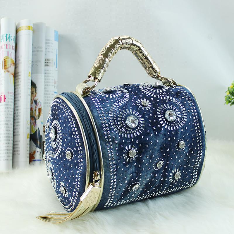 2016 Luxury Designer Rhinestone Handbags Women Shoulder Bags Denim Messenger Bag Weaving Leather Tote Tassel Bucket Bolsas A0217(China (Mainland))