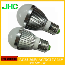 E27 LED lamp 3W 5W 7W AC220V 110V AC/DC12V 24V 36V 48V 60V LED Lights Led Bulb bulb light lighting high brighness Silver metal