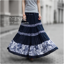 2015 New Fashion Summer Women Long Skirts 50s Vintage Pleated Linen Skirt Ladies Print Patchwork Bohemian Skirt A-0046(China (Mainland))