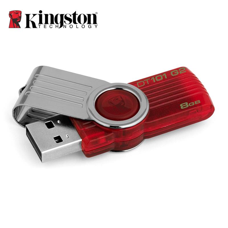 Original Kingston USB 2.0 USB Flash Drive 8GB 16GB 32GB 64GB Memory Stick Plastic Mental Swivel Real Capacity Pen Drives DT101G2(China (Mainland))