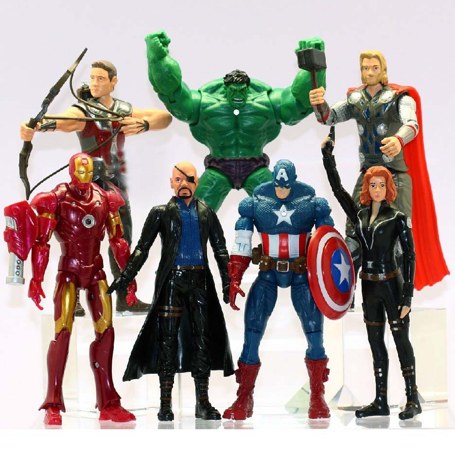 7Pcs/lot The Avengers Toys Iron Man The Hulk Captain America Thor model Brinquedos Doll kids Action Figures  Boy Toys(China (Mainland))