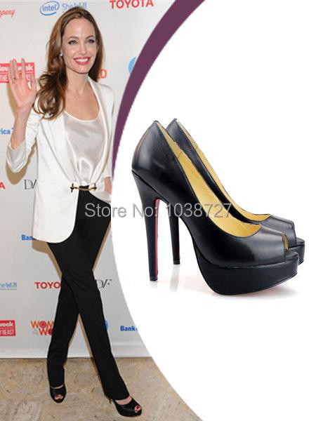 Angelina Jolie Heels black leather peep toe red bottom stiletto 140 mm high platform pumps heels