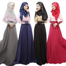 New Design Women Abaya Jilbab Islamic Muslim Cocktail Female Long Sleeve Vintage Maxi Dress Islamic Clothing for Women WL3006