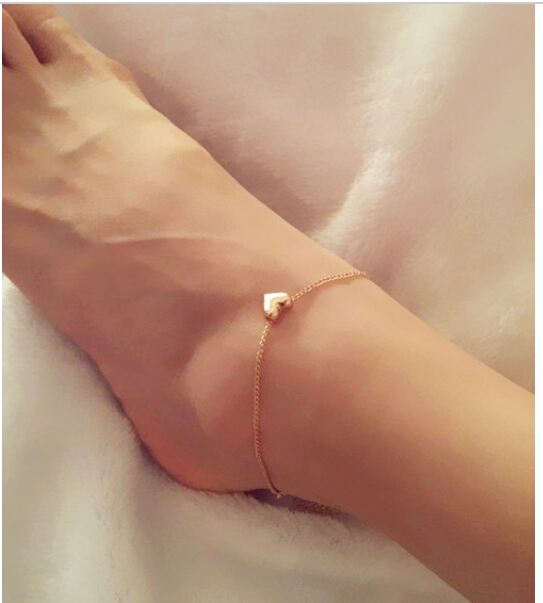 Hot Tiny Gold Love Heart Anklets for Women Fashion Foot jewelry heart anklets nice gift for girl(China (Mainland))