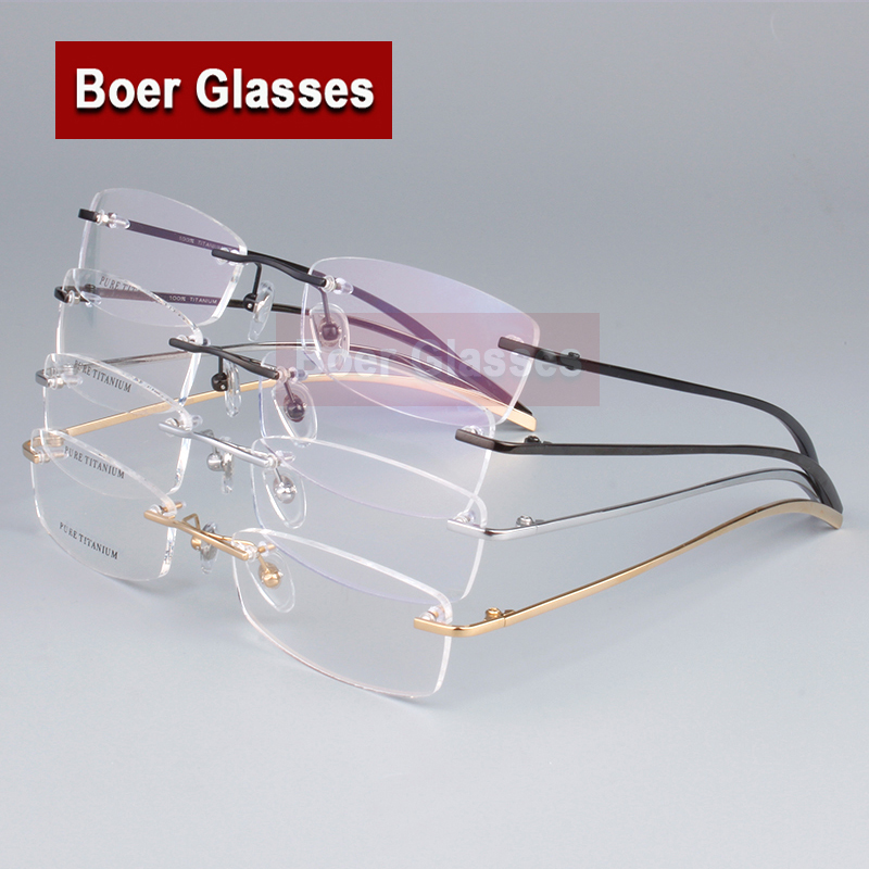 hot sell 100 pure titanium mens eyeglasses frame optical glasses rxable rimless glasses light weight 1028