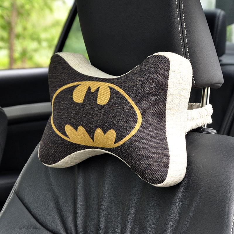 Bat Man Car headrest neck pillow Cartoon Auto head back support cushion Linen cloth flax fabric space memory foam seat covers(China (Mainland))